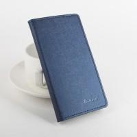 Чехол портмоне подставка на силиконовой основе с отделением для карт и магнитной защёлкой текстура Ткань для Lenovo A7010 Синий