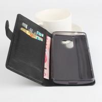 Чехол портмоне подставка на силиконовой основе с защелкой для Lenovo A7010 Черный