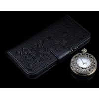 Кожаный чехол портмоне (нат. кожа) для Lenovo A7010 Черный