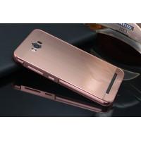 Гибридный металлический двухкомпонентный чехол и поликарбонатной крышкой текстура Металл для ASUS ZenFone Max Розовый
