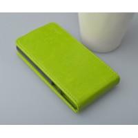 Глянцевый чехол вертикальная книжка на пластиковой основе с магнитной застёжкой для Lenovo P780 Зеленый