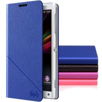 Чехол флип-подставка с отделениями для Sony Xperia ZL Синий