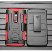 Антиударный гибридный силиконовый чехол с поликарбонатной крышкой и встроенной ножкой-подставкой для Lenovo Moto X Force Красный