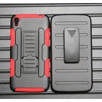 Антиударный гибридный силиконовый чехол с поликарбонатной крышкой и встроенной ножкой-подставкой для Alcatel One Touch Idol 3 (5.5) Красный