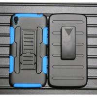 Антиударный гибридный силиконовый чехол с поликарбонатной крышкой и встроенной ножкой-подставкой для Alcatel One Touch Idol 3 (5.5) Синий