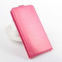 Глянцевый чехол вертикальная книжка на силиконовой основе с магнитной застежкой для Alcatel One Touch Idol 3 (5.5) Розовый