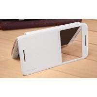 Чехол флип на пластиковой матовой нескользящей основе с окном вызова для Lenovo Moto X Style Белый