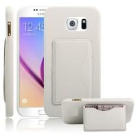 Дизайнерский чехол накладка с отделениями для карт и подставкой для Samsung Galaxy S7 Белый