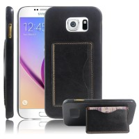Дизайнерский чехол накладка с отделениями для карт и подставкой для Samsung Galaxy S7 Черный