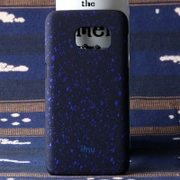 Пластиковый матовый дизайнерский чехол с голографическим принтом Звезды для Samsung Galaxy S7 Синий