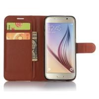 Чехол портмоне подставка с защелкой для Samsung Galaxy S7 Коричневый