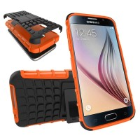 Антиударный гибридный силиконовый чехол с поликарбонатной крышкой и встроенной ножкой-подставкой для Samsung Galaxy S7 Оранжевый