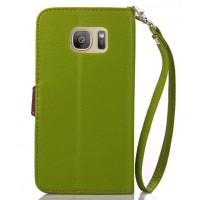 Текстурный чехол портмоне подставка на силиконовой основе с дизайнерской застежкой для Samsung Galaxy S7 Зеленый