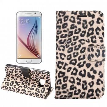 Чехол портмоне подставка с защелкой с полноповерхностным принтом Леопард для Samsung Galaxy S7