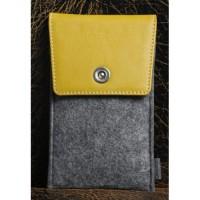 Войлочный мешок с кожаной отделкой и отделением для карт для Samsung Galaxy S7 Желтый