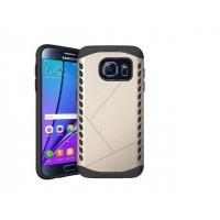 Антиударный гибридный силиконовый чехол с поликарбонатной крышкой для Samsung Galaxy S7 Бежевый