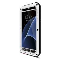 Эксклюзивный многомодульный ультрапротекторный пылевлагозащищенный ударостойкий чехол алюминиевый сплав/силиконовый полимер с закаленным защитным стеклом для Samsung Galaxy S7 Белый