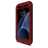Эксклюзивный многомодульный ультрапротекторный пылевлагозащищенный ударостойкий чехол алюминиевый сплав/силиконовый полимер с закаленным защитным стеклом для Samsung Galaxy S7 Красный