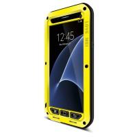Эксклюзивный многомодульный ультрапротекторный пылевлагозащищенный ударостойкий чехол алюминиевый сплав/силиконовый полимер с закаленным защитным стеклом для Samsung Galaxy S7 Желтый