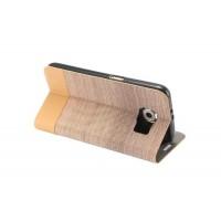 Текстурный чехол подставка на силиконовой основе с отделением для карты для Samsung Galaxy S7 Бежевый