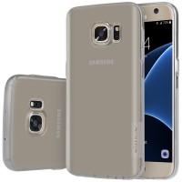 Силиконовый матовый полупрозрачный чехол повышенной ударостойкости для Samsung Galaxy S7 Серый