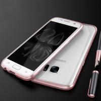 Металлический округлый премиум бампер винтового типа для Samsung Galaxy S7 Розовый