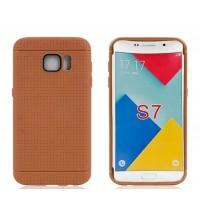 Силиконовый матовый непрозрачный чехол текстура Точки для Samsung Galaxy S7 Коричневый