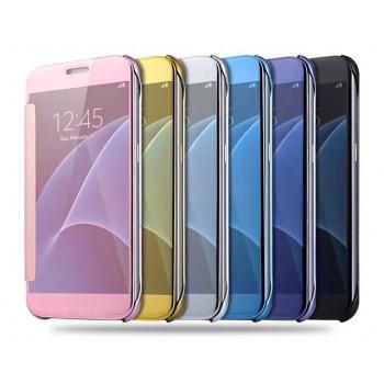 Двухмодульный пластиковый чехол флип с полупрозрачной крышкой с зеркальным покрытием для Samsung Galaxy S7