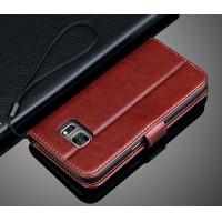 Глянцевый чехол портмоне подставка с защелкой для Samsung Galaxy S7 Коричневый