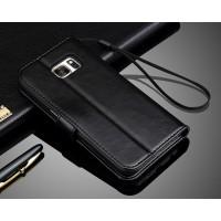 Глянцевый чехол портмоне подставка с защелкой для Samsung Galaxy S7 Черный
