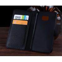 Кожаный чехол портмоне (нат. кожа крокодила) с магнитной защелкой для Samsung Galaxy S7 Черный