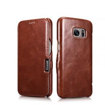 Вощеный кожаный чехол горизонтальная книжка на пластиковой основе для Samsung Galaxy S7