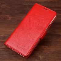 Кожаный чехол портмоне горизонтальная книжка (нат. кожа) с крепежной застежкой для Samsung Galaxy S7 Красный