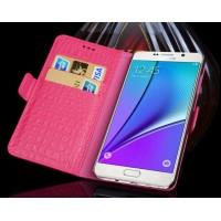 Кожаный чехол портмоне (нат. кожа крокодила) для Samsung Galaxy S7 Розовый