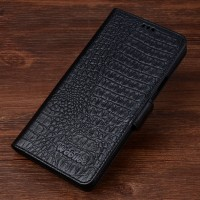 Кожаный чехол портмоне (нат. кожа крокодила) для Samsung Galaxy S7 Черный