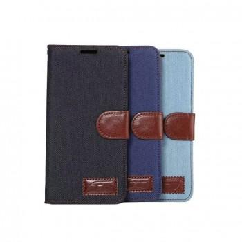 Чехол портмоне подставка с защелкой и тканевым покрытием на силиконовой основе для Samsung Galaxy S7