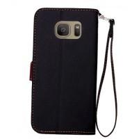 Текстурный чехол портмоне подставка на силиконовой основе с дизайнерской застежкой для Samsung Galaxy S7 Edge Черный