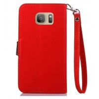 Текстурный чехол портмоне подставка на силиконовой основе с дизайнерской застежкой для Samsung Galaxy S7 Edge Красный