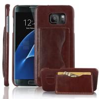 Дизайнерский чехол накладка с отделениями для карт и подставкой для Samsung Galaxy S7 Edge Коричневый
