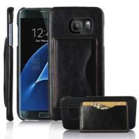 Дизайнерский чехол накладка с отделениями для карт и подставкой для Samsung Galaxy S7 Edge Черный