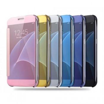 Двухмодульный пластиковый чехол флип с полупрозрачной крышкой с зеркальным покрытием для Samsung Galaxy S7 Edge