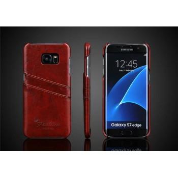 Чехол накладка с отделением для карт текстура Кожа для Samsung Galaxy S7 Edge
