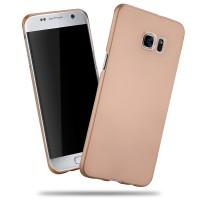 Пластиковый матовый непрозрачный чехол с улучшенной защитой корпуса для Samsung Galaxy S7 Edge Бежевый
