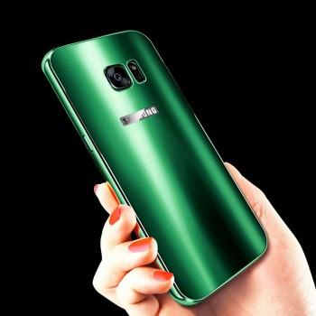 Двухкомпонентный чехол с металлическим бампером и акриловой премиум накладкой со светоотражающим эффектом для Samsung Galaxy S7 Edge