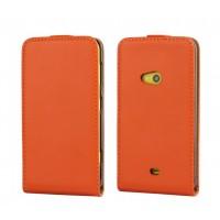 Чехол вертикальная книжка на пластиковой основе для Nokia Lumia 625 Оранжевый