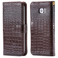 Чехол портмоне подставка текстура Крокодил с защелкой для Samsung Galaxy S6 Коричневый