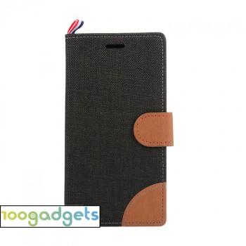 Дизайнерский чехол портмоне подставка на силиконовой основе с отделением для карт и тканевым покрытием для Lenovo Moto G