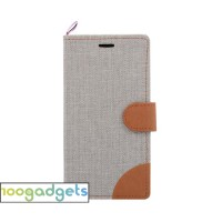 Дизайнерский чехол портмоне подставка на силиконовой основе с отделением для карт и тканевым покрытием для Lenovo Moto G Белый