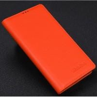 Кожаный чехол портмоне подставка (нат. кожа) для Philips i928 Оранжевый