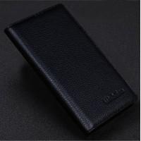 Кожаный чехол портмоне подставка (нат. кожа) для Philips i928 Черный
